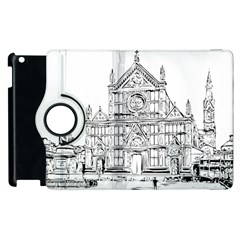 Line Art Architecture Church Italy Apple Ipad 3/4 Flip 360 Case by Sapixe