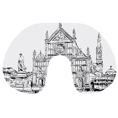 Line Art Architecture Church Italy Travel Neck Pillows by Sapixe