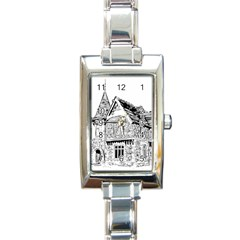 Line Art Architecture Old House Rectangle Italian Charm Watch by Sapixe