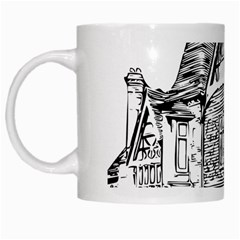 Line Art Architecture Old House White Mugs by Sapixe