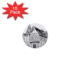 Line Art Architecture Old House 1  Mini Buttons (10 Pack)