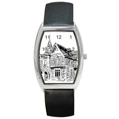 Line Art Architecture Old House Barrel Style Metal Watch