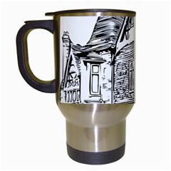 Line Art Architecture Old House Travel Mugs (white) by Sapixe
