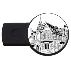 Line Art Architecture Old House Usb Flash Drive Round (4 Gb) by Sapixe