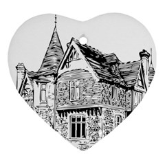 Line Art Architecture Old House Heart Ornament (two Sides) by Sapixe