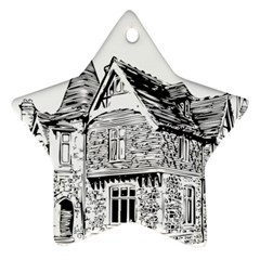 Line Art Architecture Old House Star Ornament (two Sides) by Sapixe