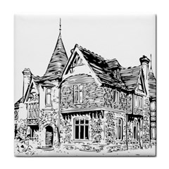 Line Art Architecture Old House Face Towel by Sapixe