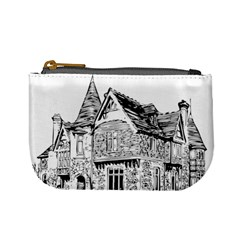 Line Art Architecture Old House Mini Coin Purses by Sapixe