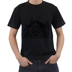 Line Art Architecture Old House Men s T-shirt (black) by Sapixe