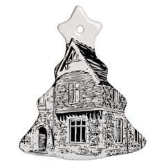 Line Art Architecture Old House Ornament (christmas Tree)  by Sapixe