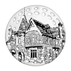 Line Art Architecture Old House Round Filigree Ornament (two Sides) by Sapixe