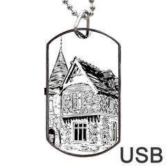 Line Art Architecture Old House Dog Tag Usb Flash (two Sides) by Sapixe