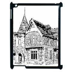 Line Art Architecture Old House Apple Ipad 2 Case (black) by Sapixe