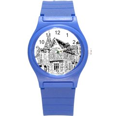 Line Art Architecture Old House Round Plastic Sport Watch (s)