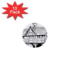 Line Art Architecture Vintage Old 1  Mini Buttons (10 Pack)
