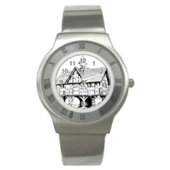 Line Art Architecture Vintage Old Stainless Steel Watch by Sapixe