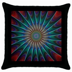 Fractal Peacock Rendering Throw Pillow Case (black) by Sapixe