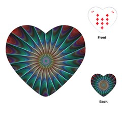 Fractal Peacock Rendering Playing Cards (heart)