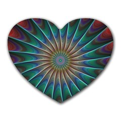 Fractal Peacock Rendering Heart Mousepads by Sapixe