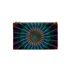 Fractal Peacock Rendering Cosmetic Bag (small)