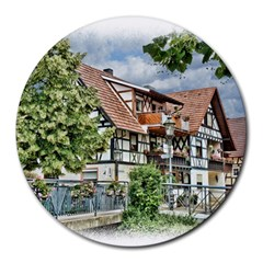Homes Building Round Mousepads by Sapixe