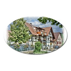 Homes Building Oval Magnet