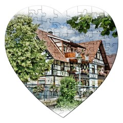 Homes Building Jigsaw Puzzle (heart)