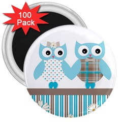 Owl Animal Daisy Flower Stripes 3  Magnets (100 Pack) by Sapixe