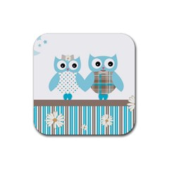 Owl Animal Daisy Flower Stripes Rubber Square Coaster (4 Pack)  by Sapixe