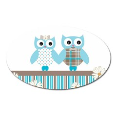 Owl Animal Daisy Flower Stripes Oval Magnet by Sapixe