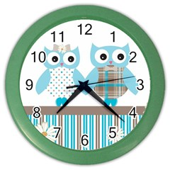 Owl Animal Daisy Flower Stripes Color Wall Clocks by Sapixe
