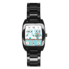 Owl Animal Daisy Flower Stripes Stainless Steel Barrel Watch by Sapixe