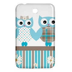 Owl Animal Daisy Flower Stripes Samsung Galaxy Tab 3 (7 ) P3200 Hardshell Case  by Sapixe
