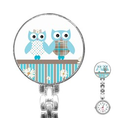Owl Animal Daisy Flower Stripes Stainless Steel Nurses Watch by Sapixe