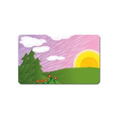 Pine Trees Trees Sunrise Sunset Magnet (name Card) by Sapixe