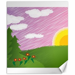 Pine Trees Trees Sunrise Sunset Canvas 20  X 24   by Sapixe