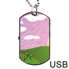Pine Trees Trees Sunrise Sunset Dog Tag Usb Flash (two Sides) by Sapixe