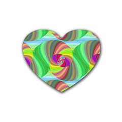 Seamless Pattern Twirl Spiral Rubber Coaster (heart)  by Sapixe
