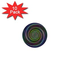 Spiral Fractal Digital Modern 1  Mini Buttons (10 Pack)