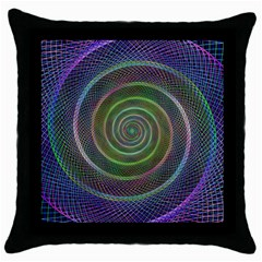 Spiral Fractal Digital Modern Throw Pillow Case (black) by Sapixe