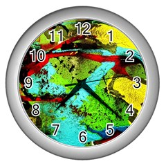 Yellow Dolphins   Blue Lagoon 6 Wall Clocks (silver)  by bestdesignintheworld