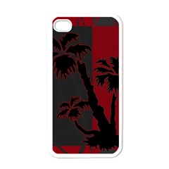 Red And Grey Silhouette Palm Tree Apple Iphone 4 Case (white)
