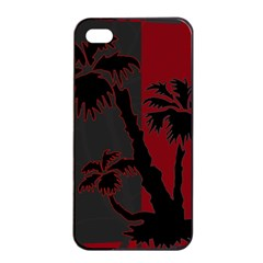 Red And Grey Silhouette Palm Tree Apple Iphone 4/4s Seamless Case (black)
