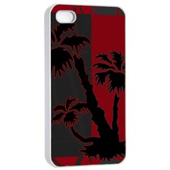 Red And Grey Silhouette Palm Tree Apple Iphone 4/4s Seamless Case (white)