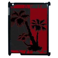 Red And Grey Silhouette Palm Tree Apple Ipad 2 Case (black)