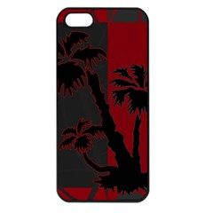 Red And Grey Silhouette Palm Tree Apple Iphone 5 Seamless Case (black)