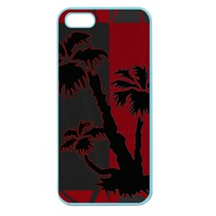 Red And Grey Silhouette Palm Tree Apple Seamless Iphone 5 Case (color)