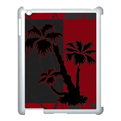 Red And Grey Silhouette Palm Tree Apple Ipad 3/4 Case (white) by LoolyElzayat