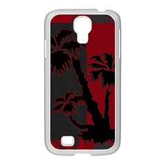 Red And Grey Silhouette Palm Tree Samsung Galaxy S4 I9500/ I9505 Case (white)
