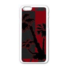 Red And Grey Silhouette Palm Tree Apple Iphone 6/6s White Enamel Case